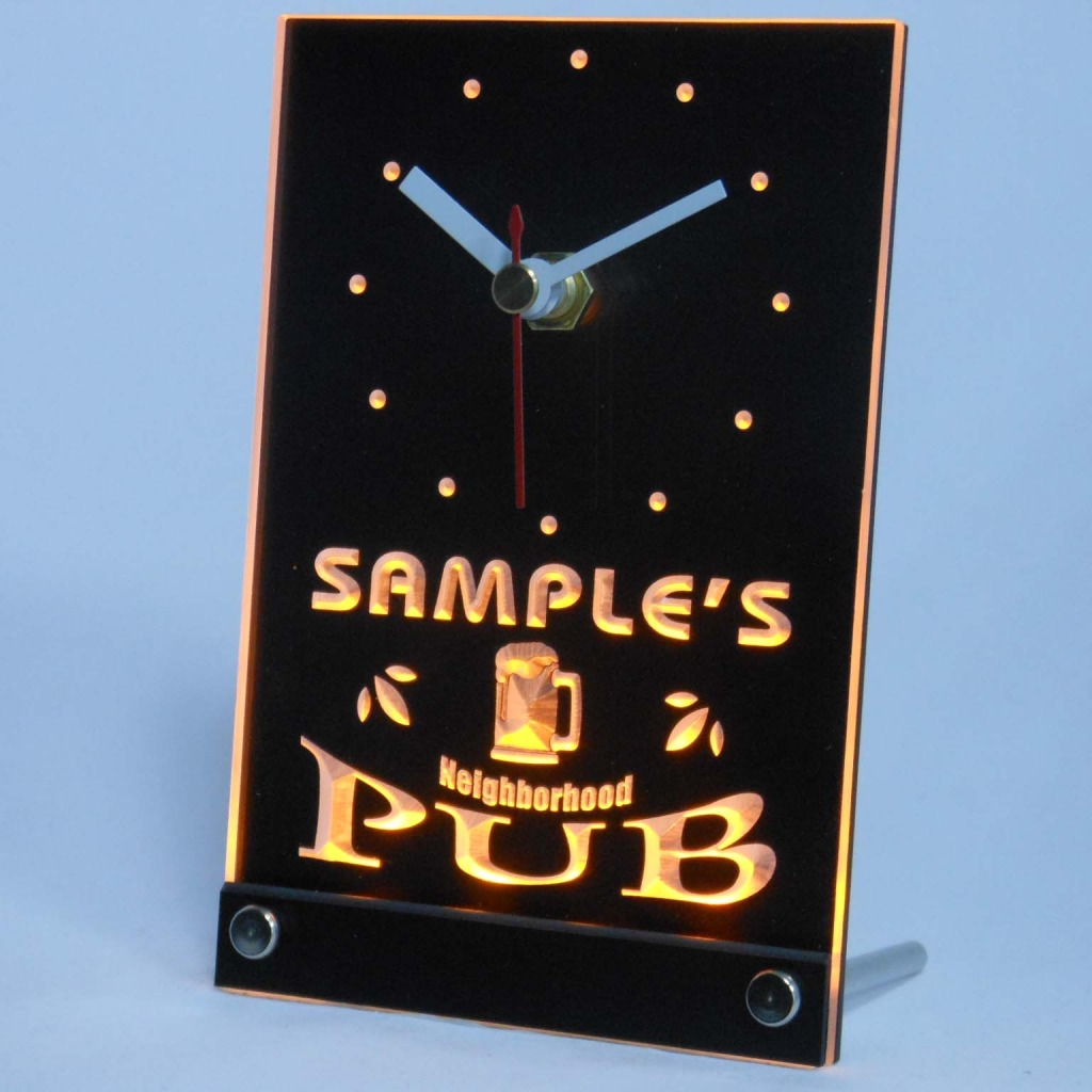 Personalized Neighborhood Pub Bar Led Table Clock Yellow