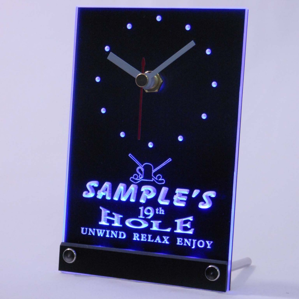 Personalized 19th Hole Bar Led Table Clock Blue