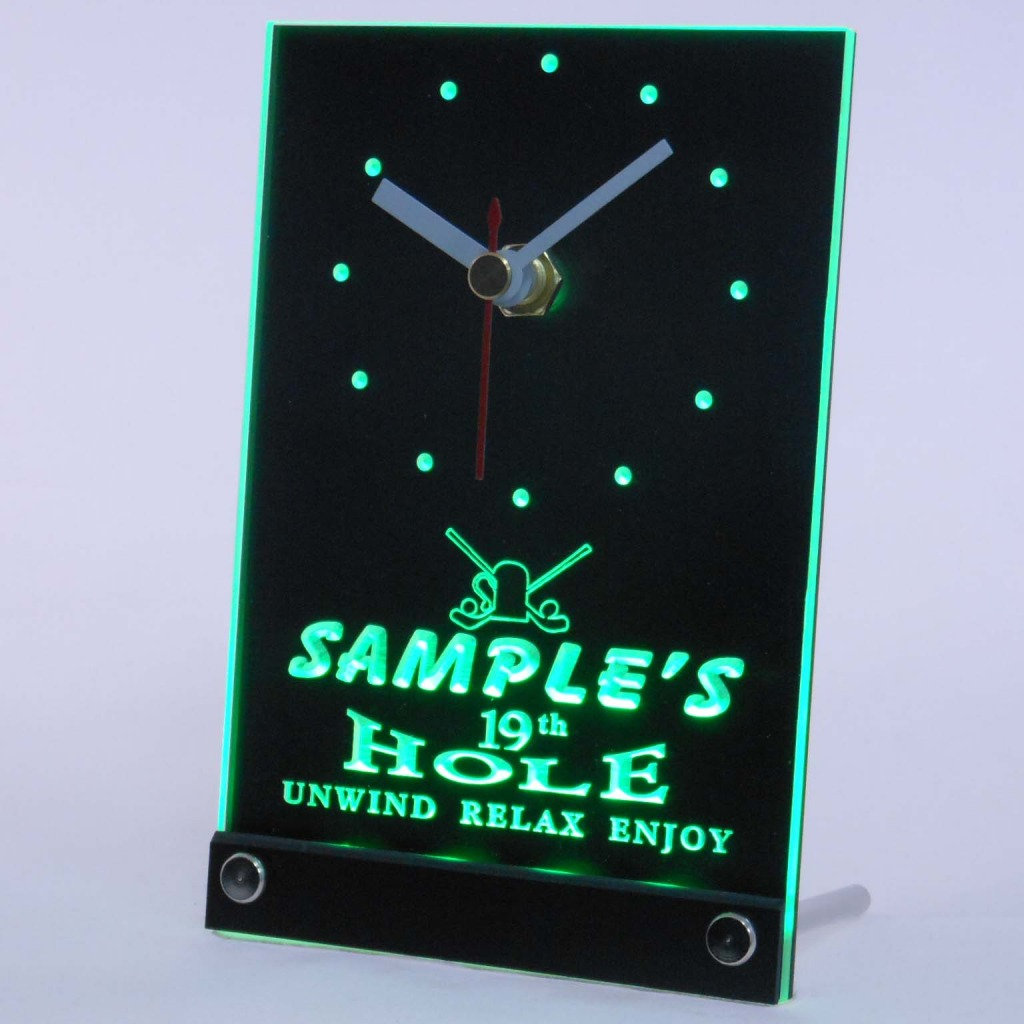 Personalized 19th Hole Bar Led Table Clock Green