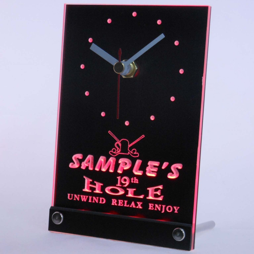 Personalized 19th Hole Bar Led Table Clock Red
