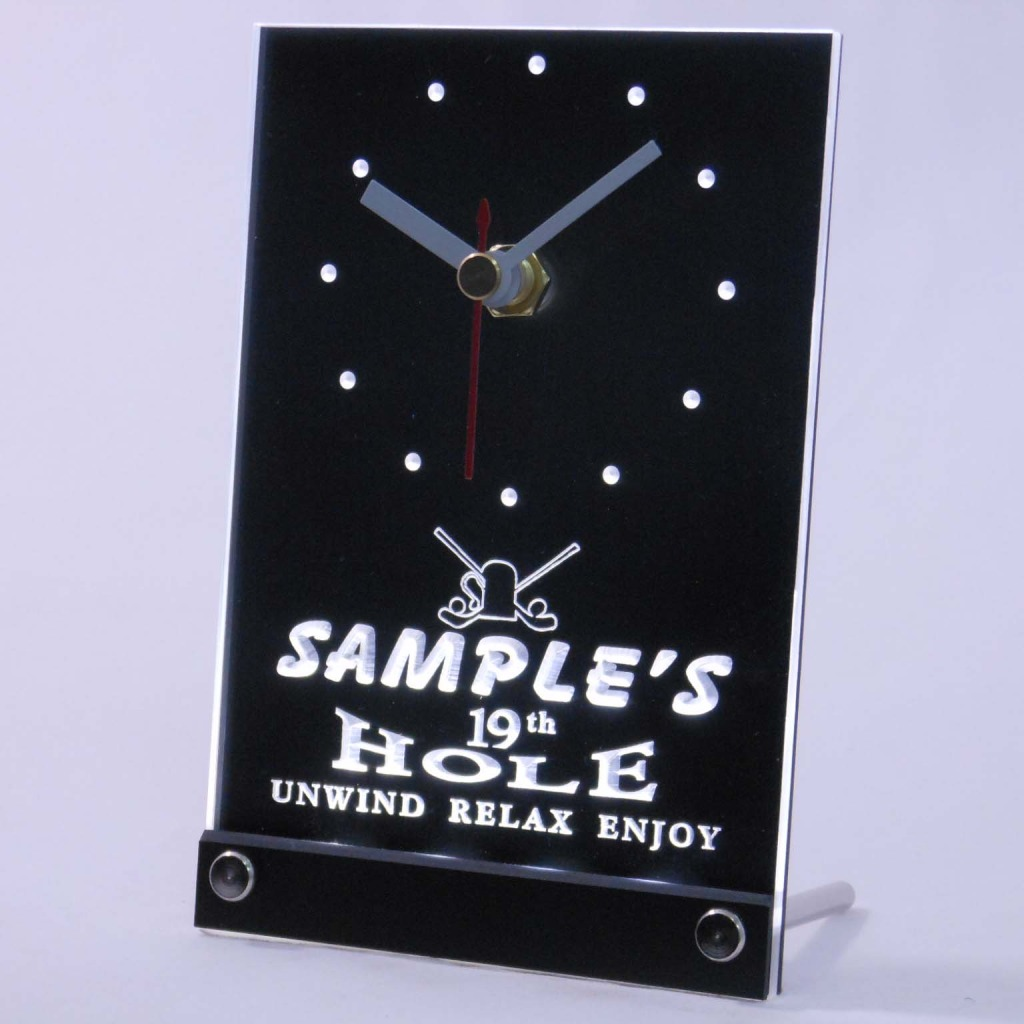 Personalized 19th Hole Bar Led Table Clock White