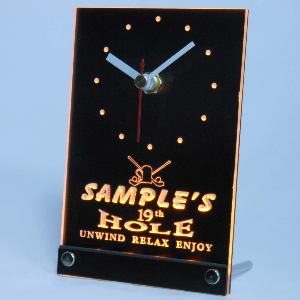Personalized 19th Hole Bar Led Table Clock Yellow
