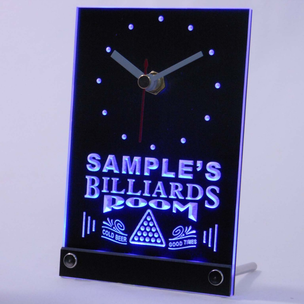 Personalized Billiards Room Bar Led Table Clock Blue