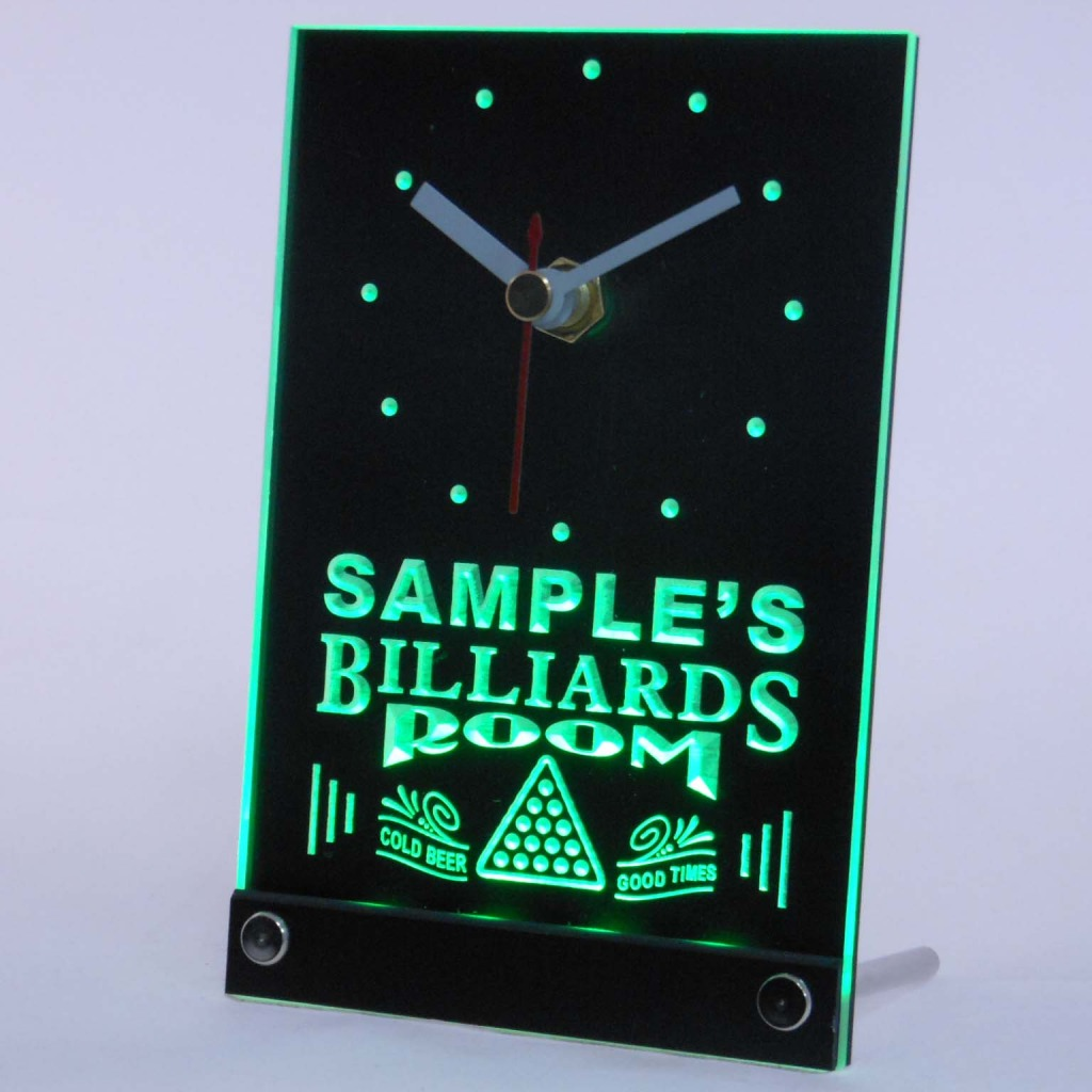 Personalized Billiards Room Bar Led Table Clock Green