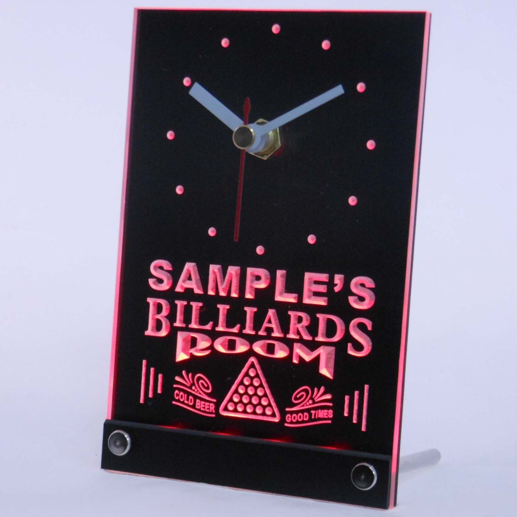 Personalized Billiards Room Bar Led Table Clock Red