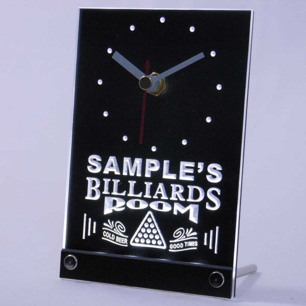 Personalized Billiards Room Bar Led Table Clock White