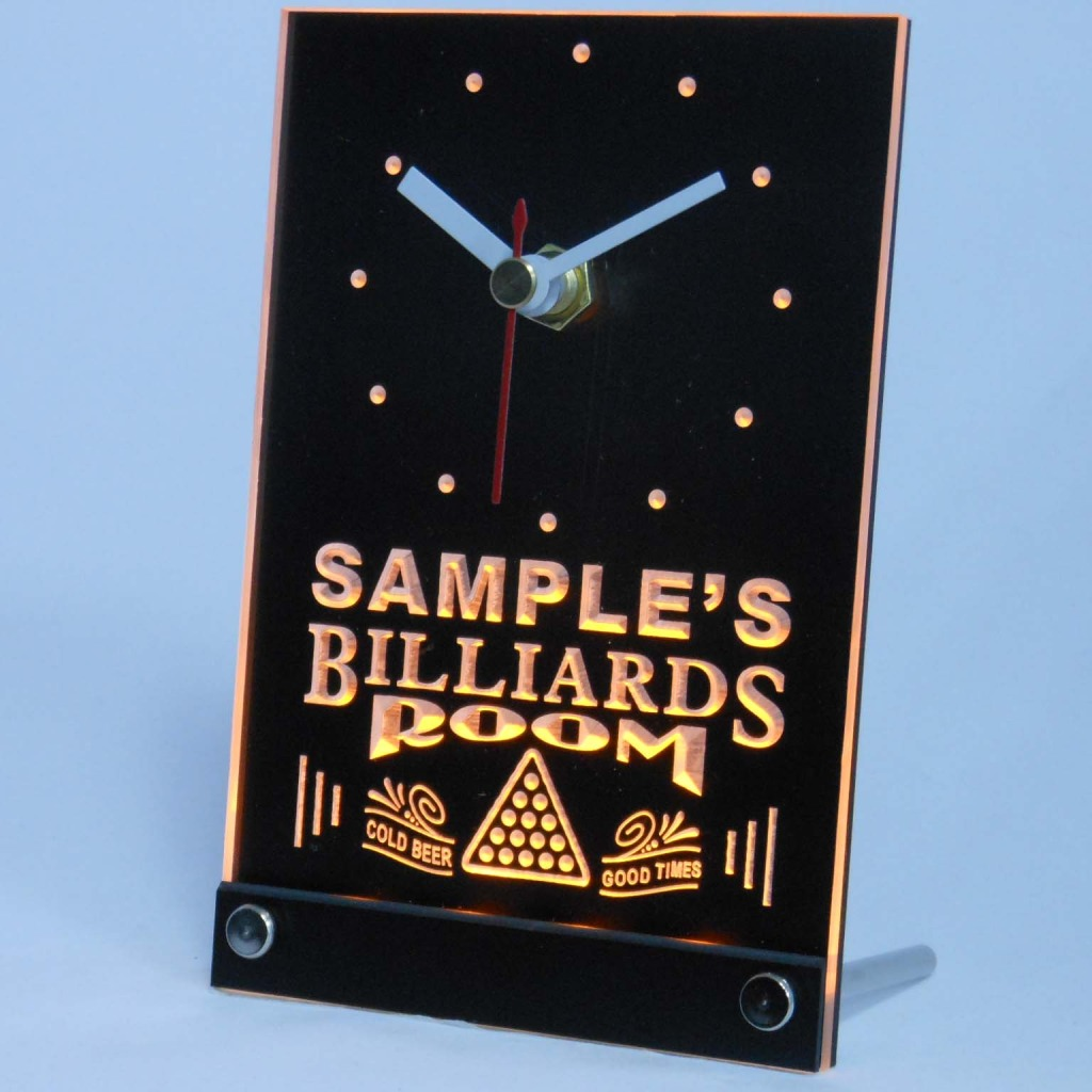 Personalized Billiards Room Bar Led Table Clock Yellow