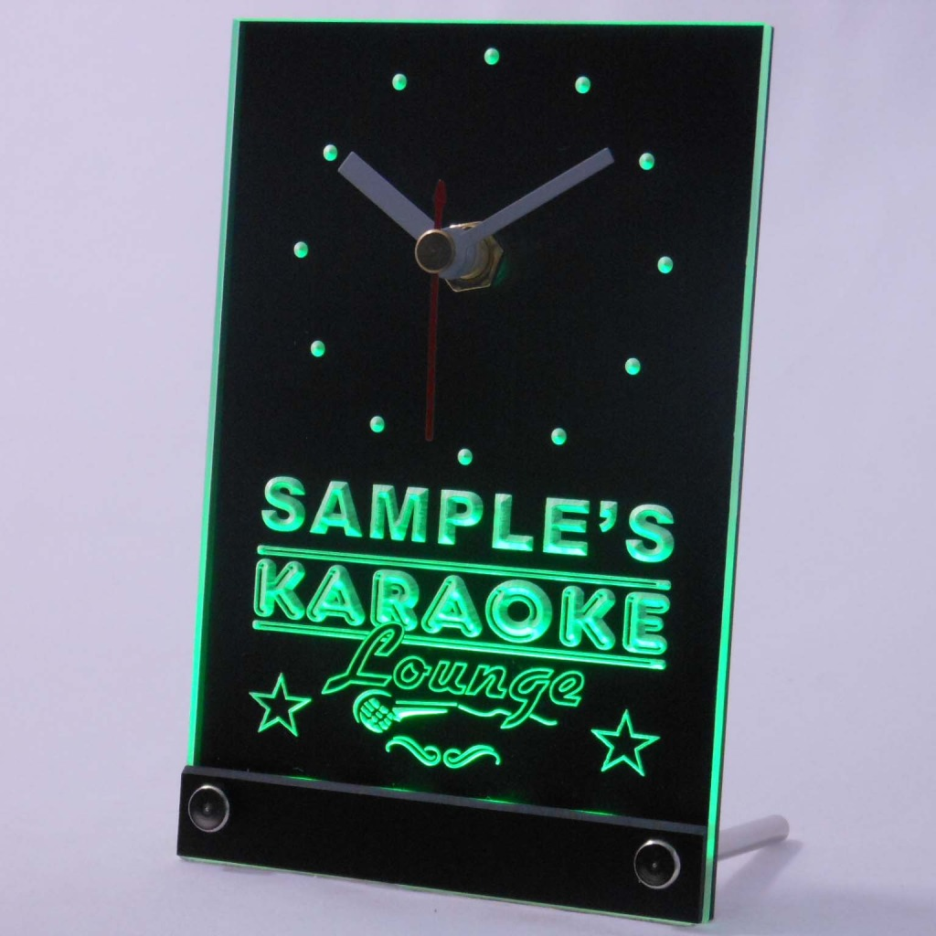 Personalized Karaoke Lounge Bar Neon Led Table Clock Green