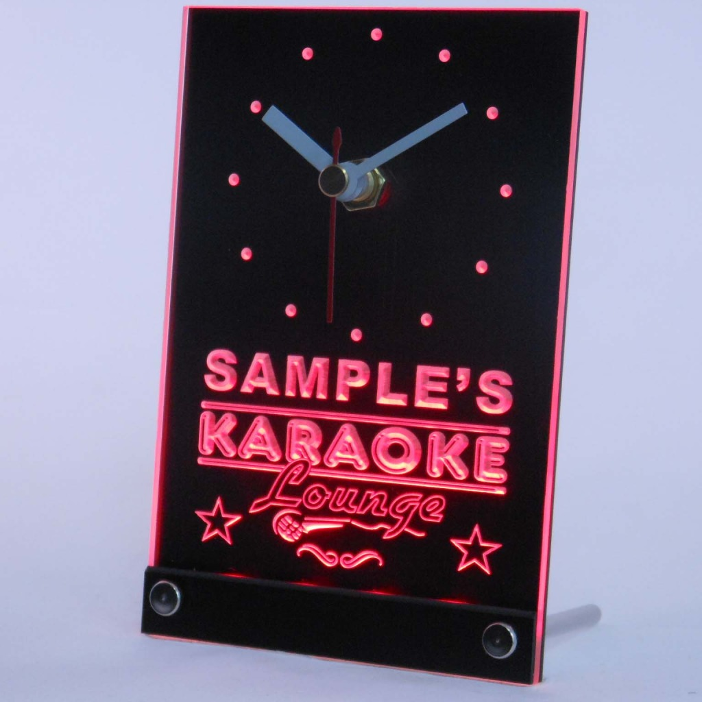 Personalized Karaoke Lounge Bar Neon Led Table Clock Red