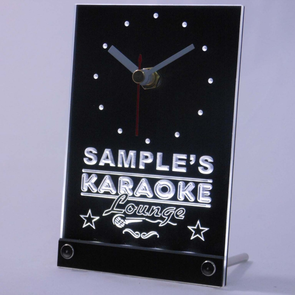 Personalized Karaoke Lounge Bar Neon Led Table Clock White