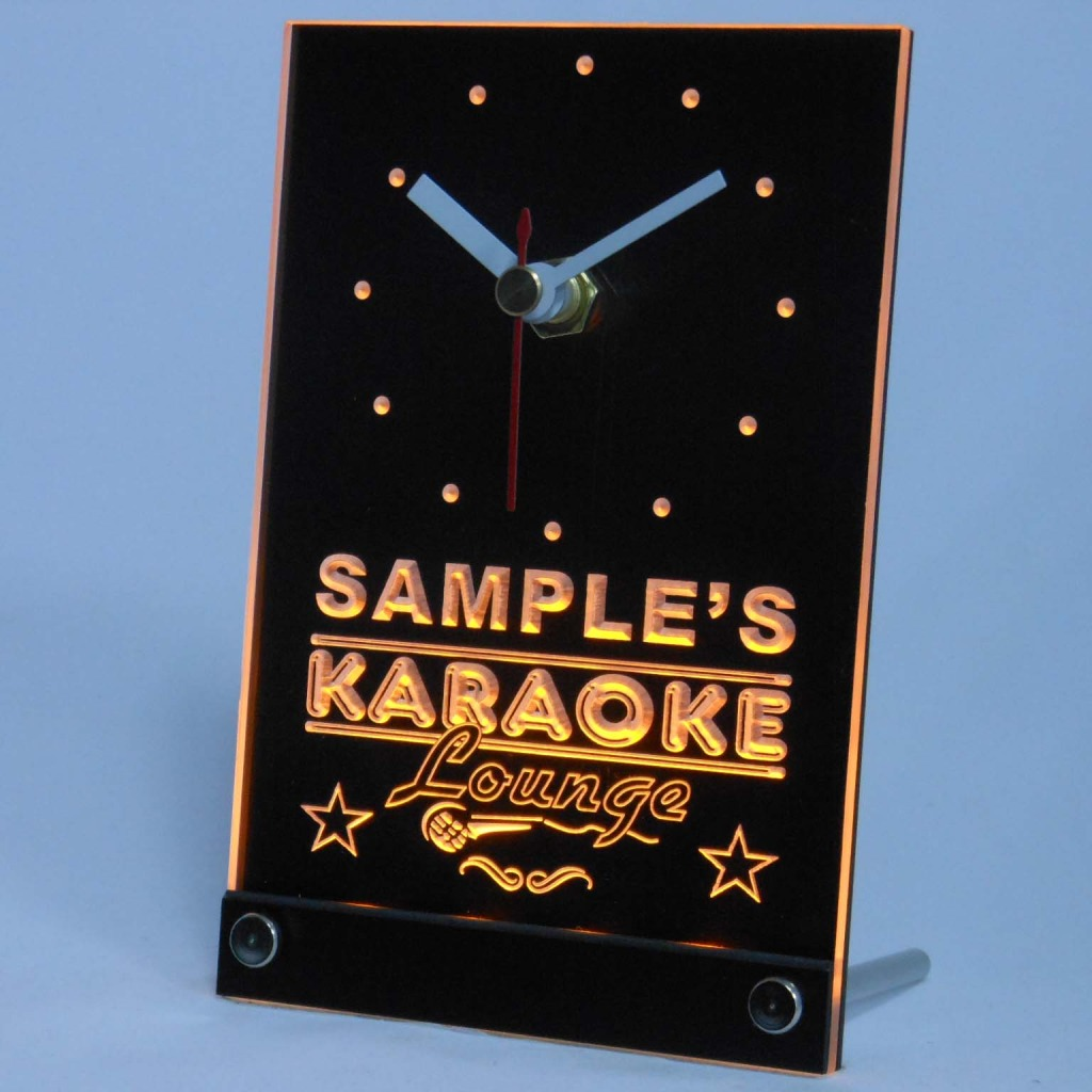 Personalized Karaoke Lounge Bar Neon Led Table Clock Yellow