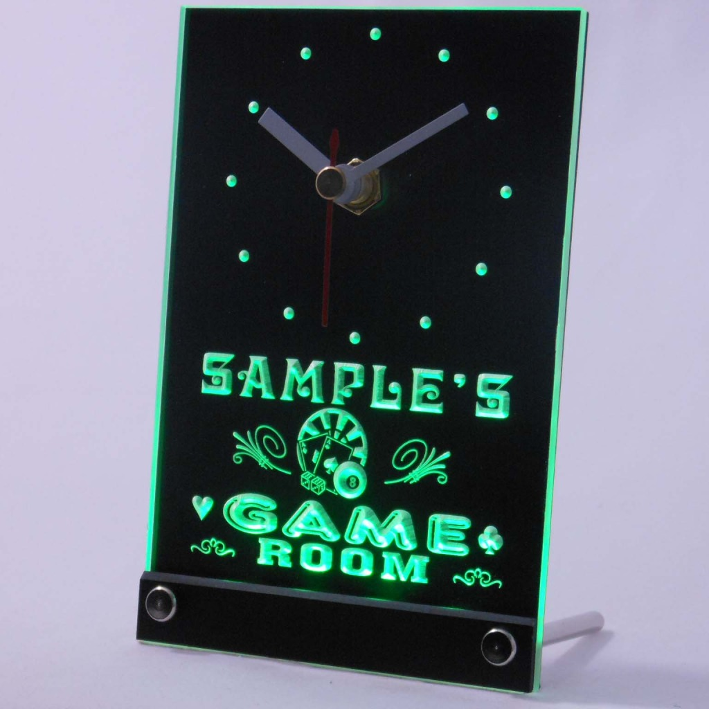 Personalized Game Room Bar Neon Led Table Clock Green