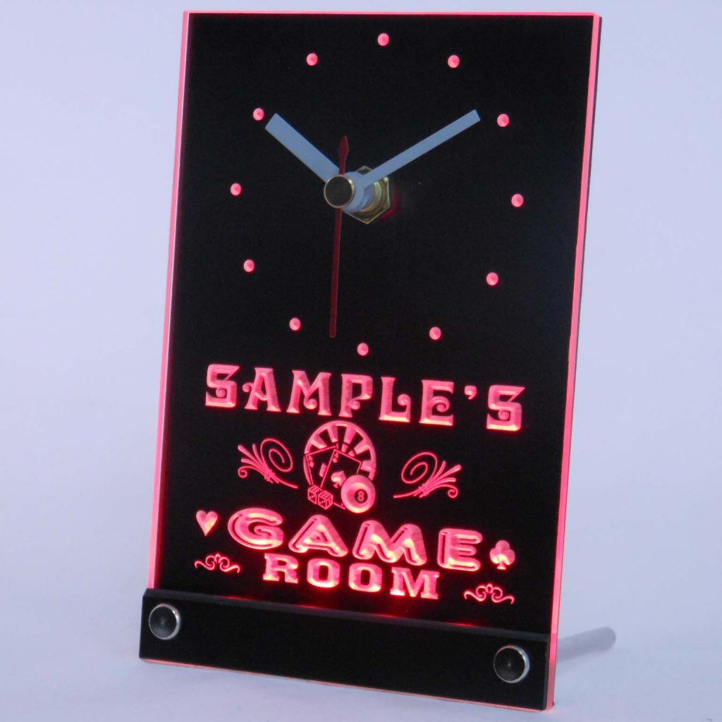 Personalized Game Room Bar Neon Led Table Clock Red