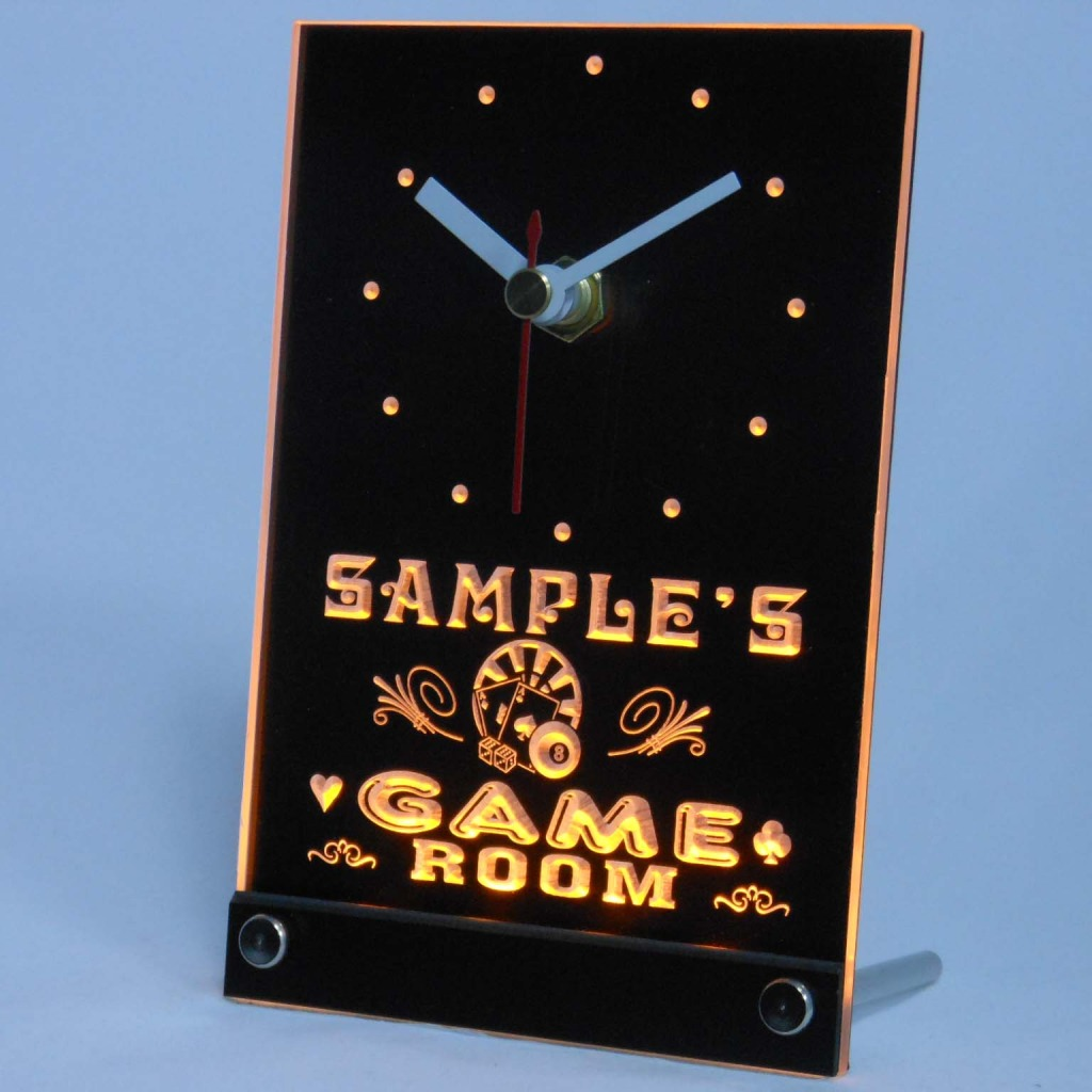 Personalized Game Room Bar Neon Led Table Clock Yellow