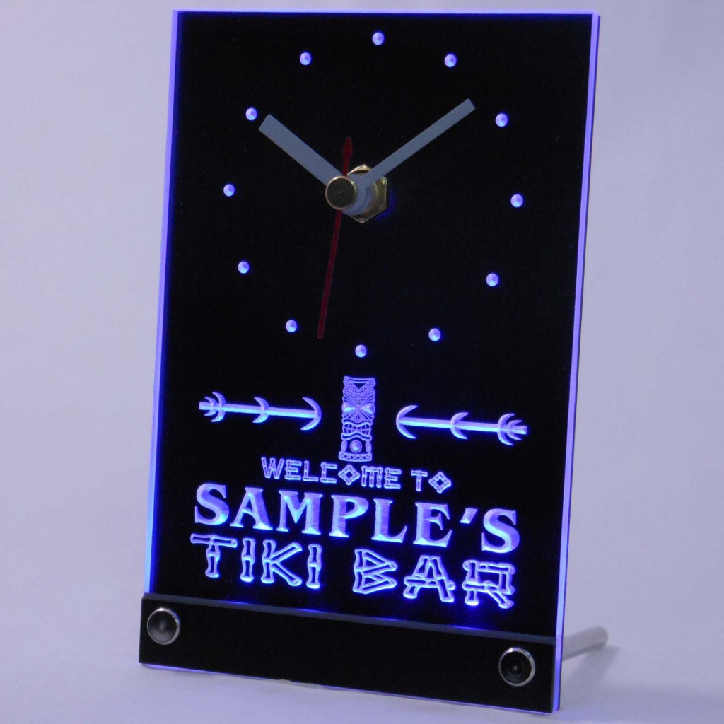 Personalized Tiki Bar Bar Led Table Clock Blue