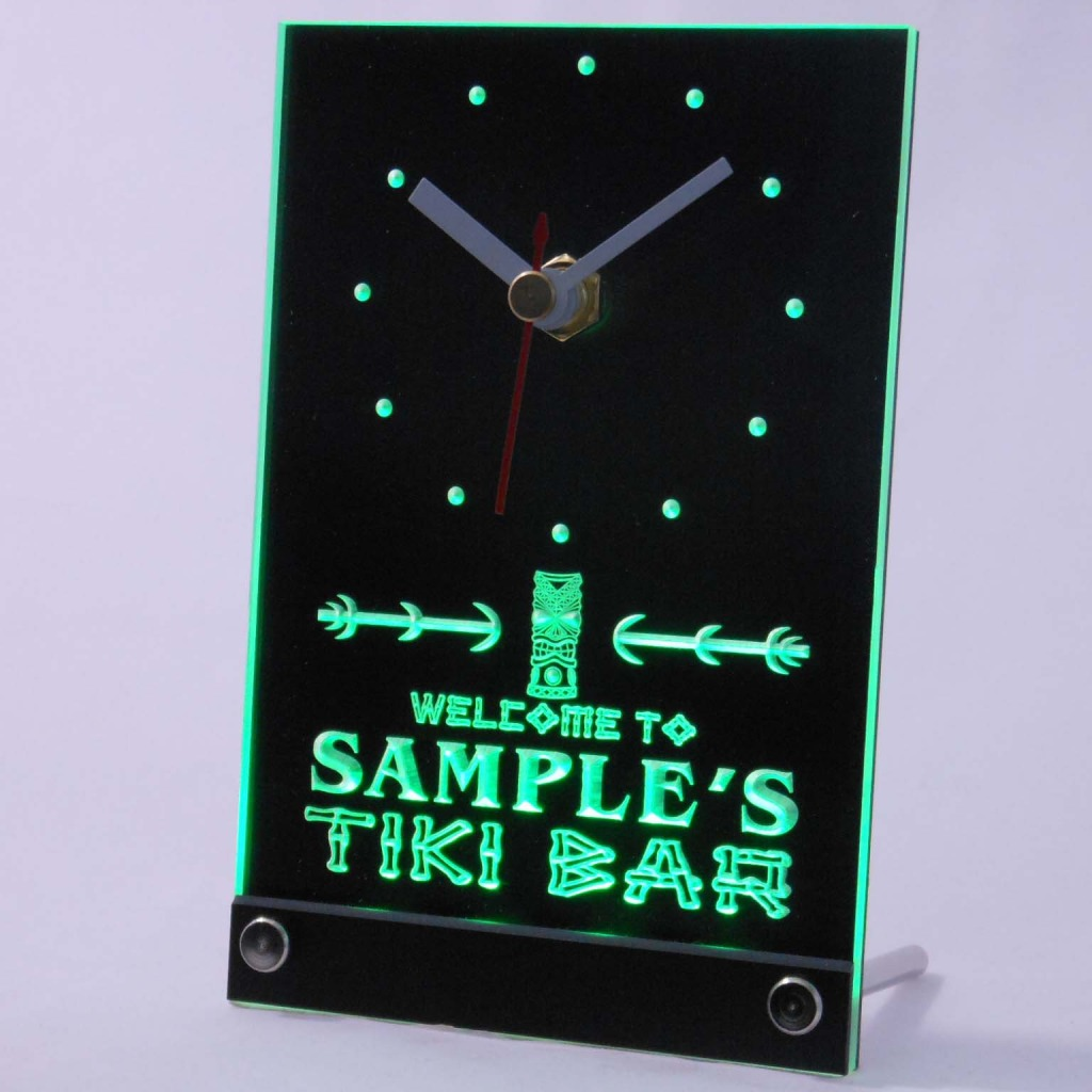 Personalized Tiki Bar Bar Led Table Clock Green