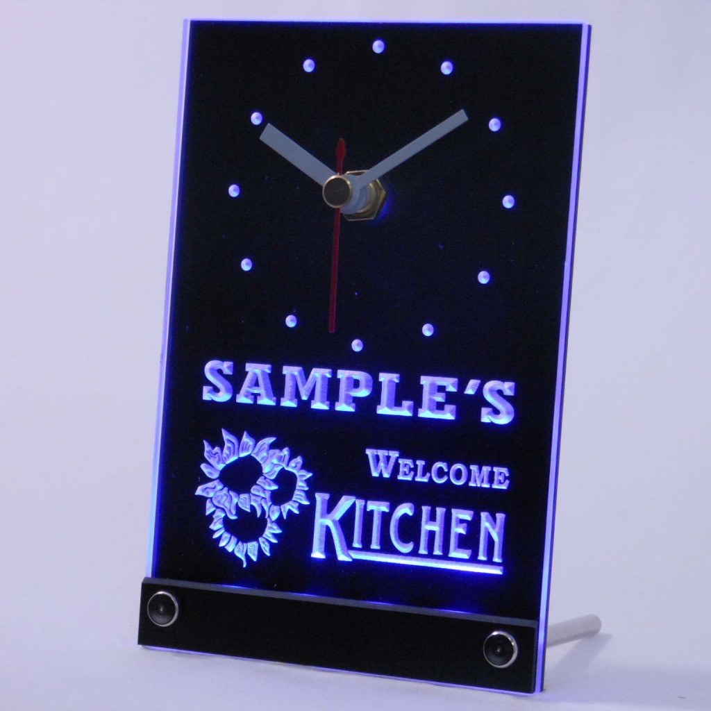 Personalized Welcome Kitchen Room Bar Led Table Clock Blue