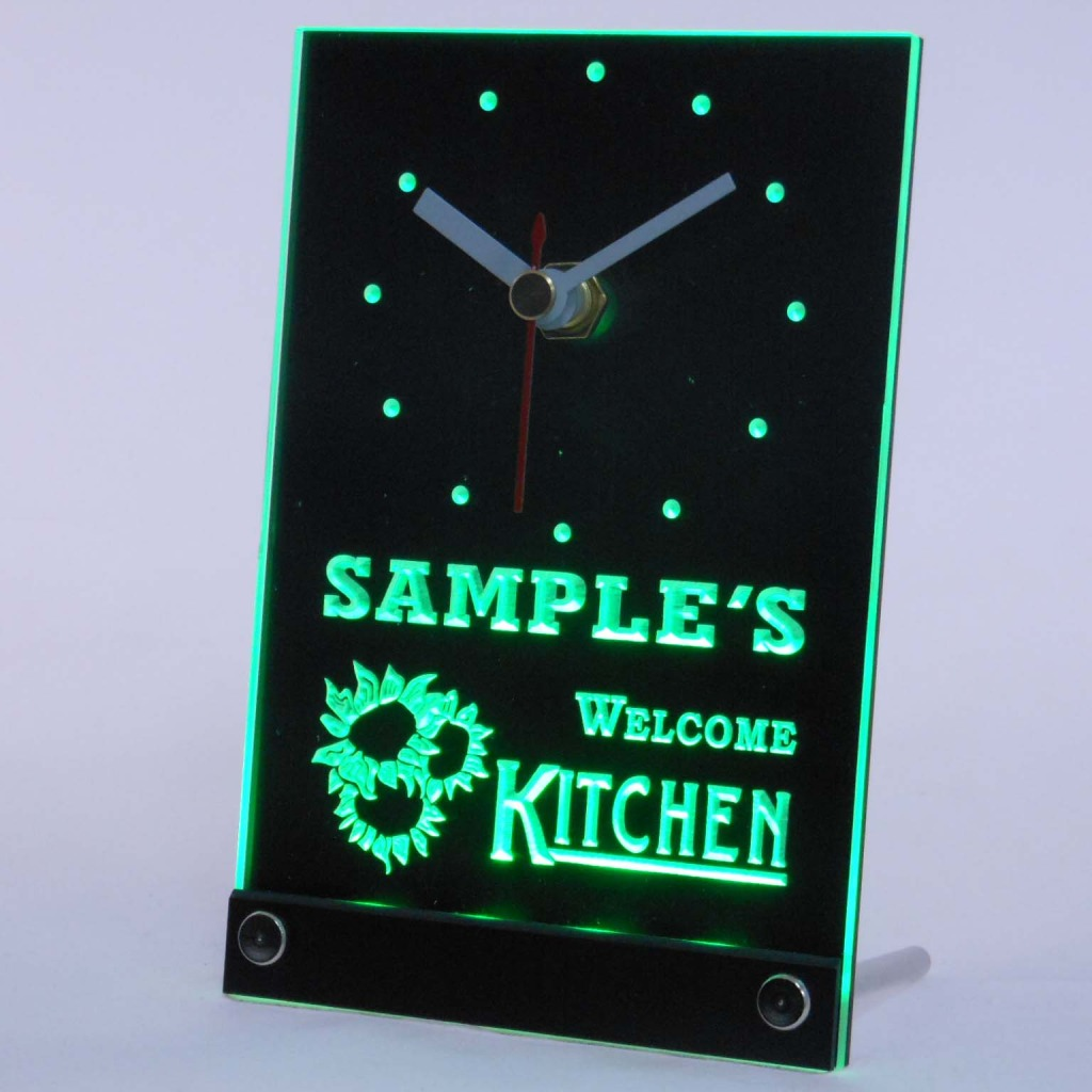 Personalized Welcome Kitchen Room Bar Led Table Clock Green