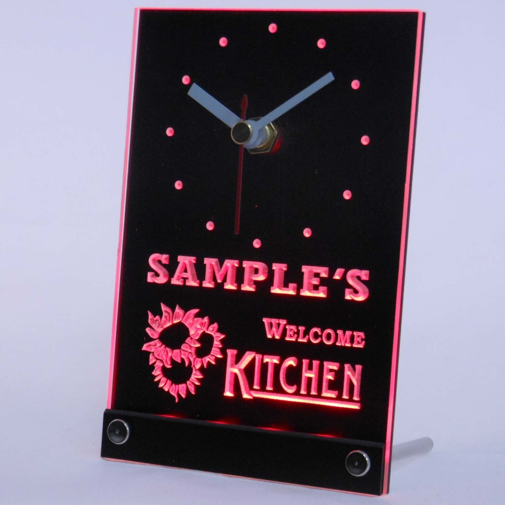 Personalized Welcome Kitchen Room Bar Led Table Clock Red