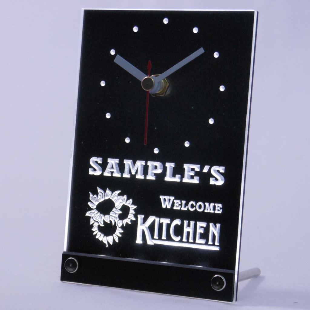 Personalized Welcome Kitchen Room Bar Led Table Clock White