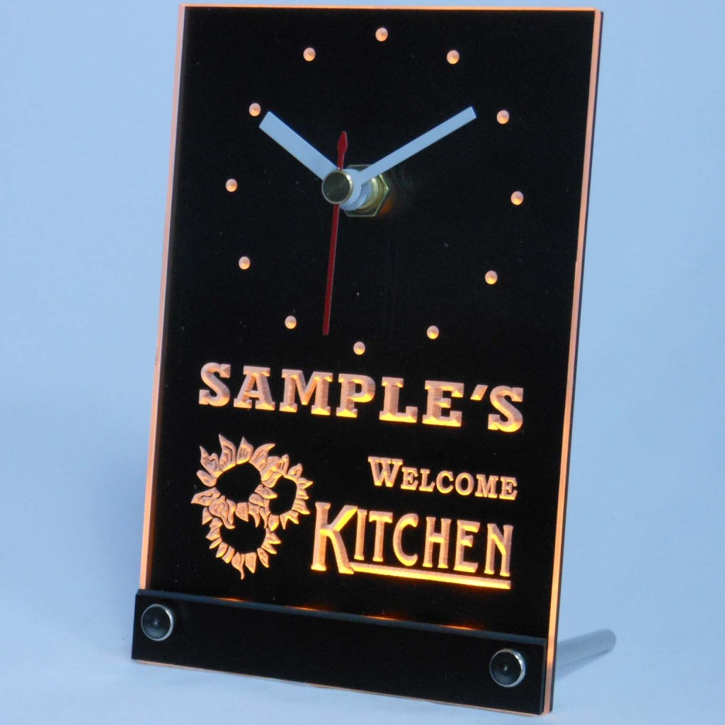Personalized Welcome Kitchen Room Bar Led Table Clock Yellow