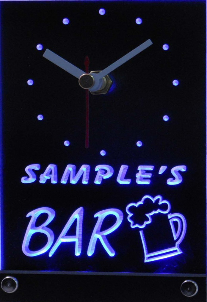Personalized Beer Mug Room Bar Led Table Clock Blue