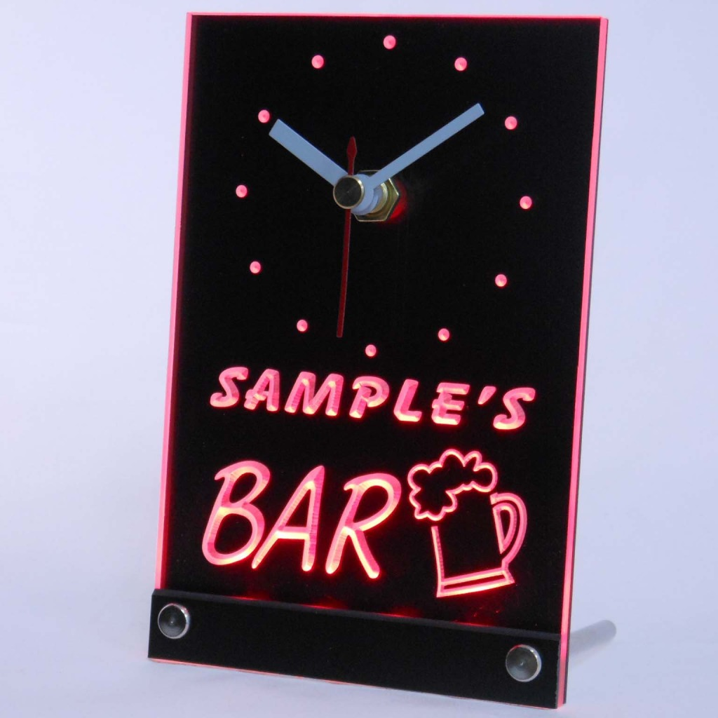 Personalized Beer Mug Room Bar Led Table Clock Red