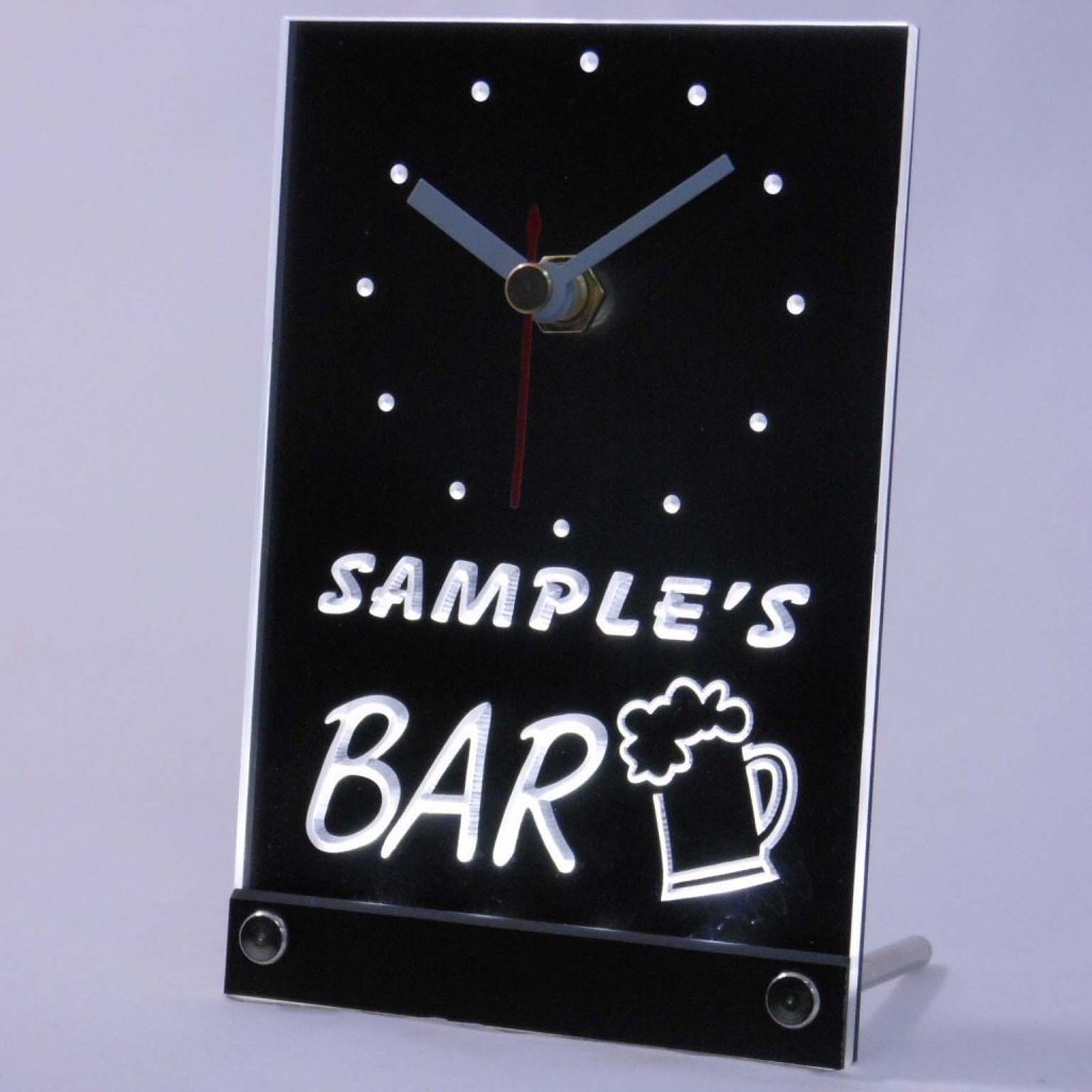 Personalized Beer Mug Room Bar Led Table Clock Green