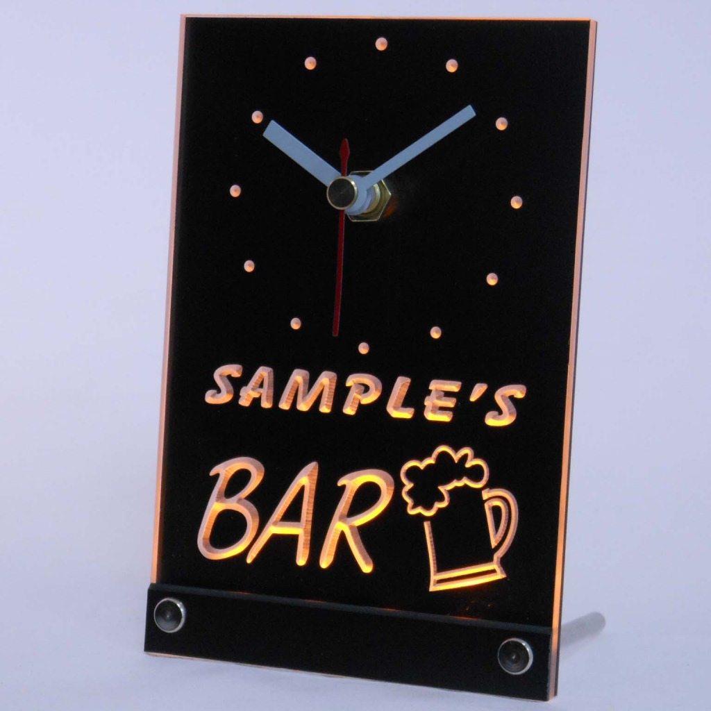 Personalized Beer Mug Room Bar Led Table Clock Yellow