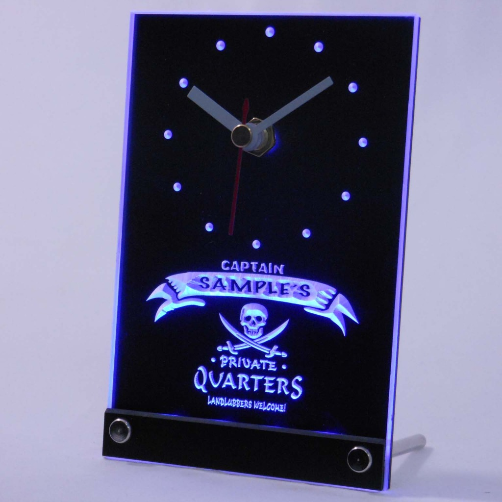 Personalized Private Quarters Pirate Bar Led Table Clock Blue
