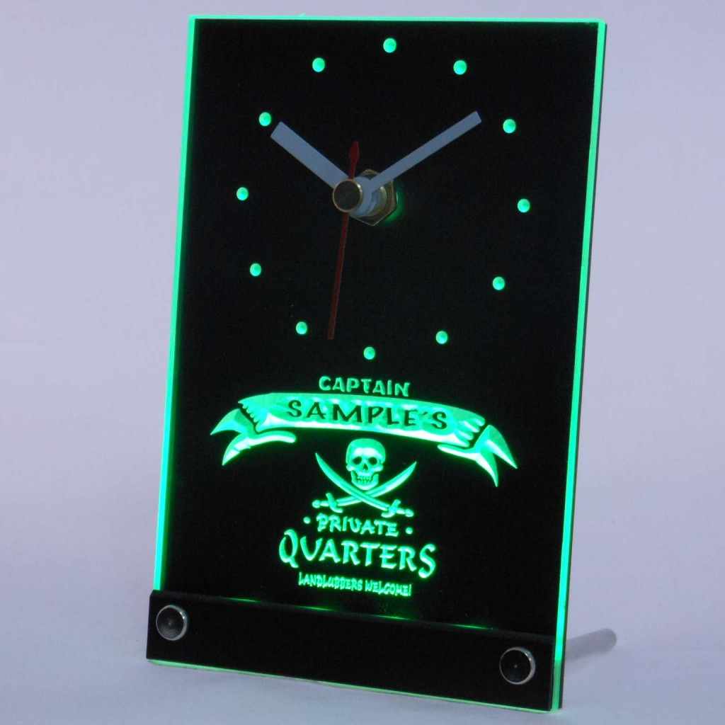 Personalized Private Quarters Pirate Bar Led Table Clock Green