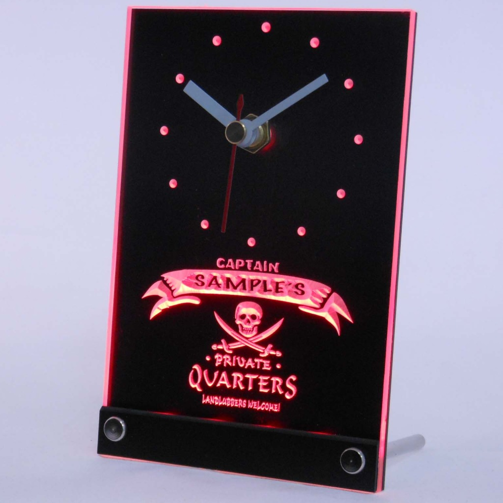 Personalized Private Quarters Pirate Bar Led Table Clock Red