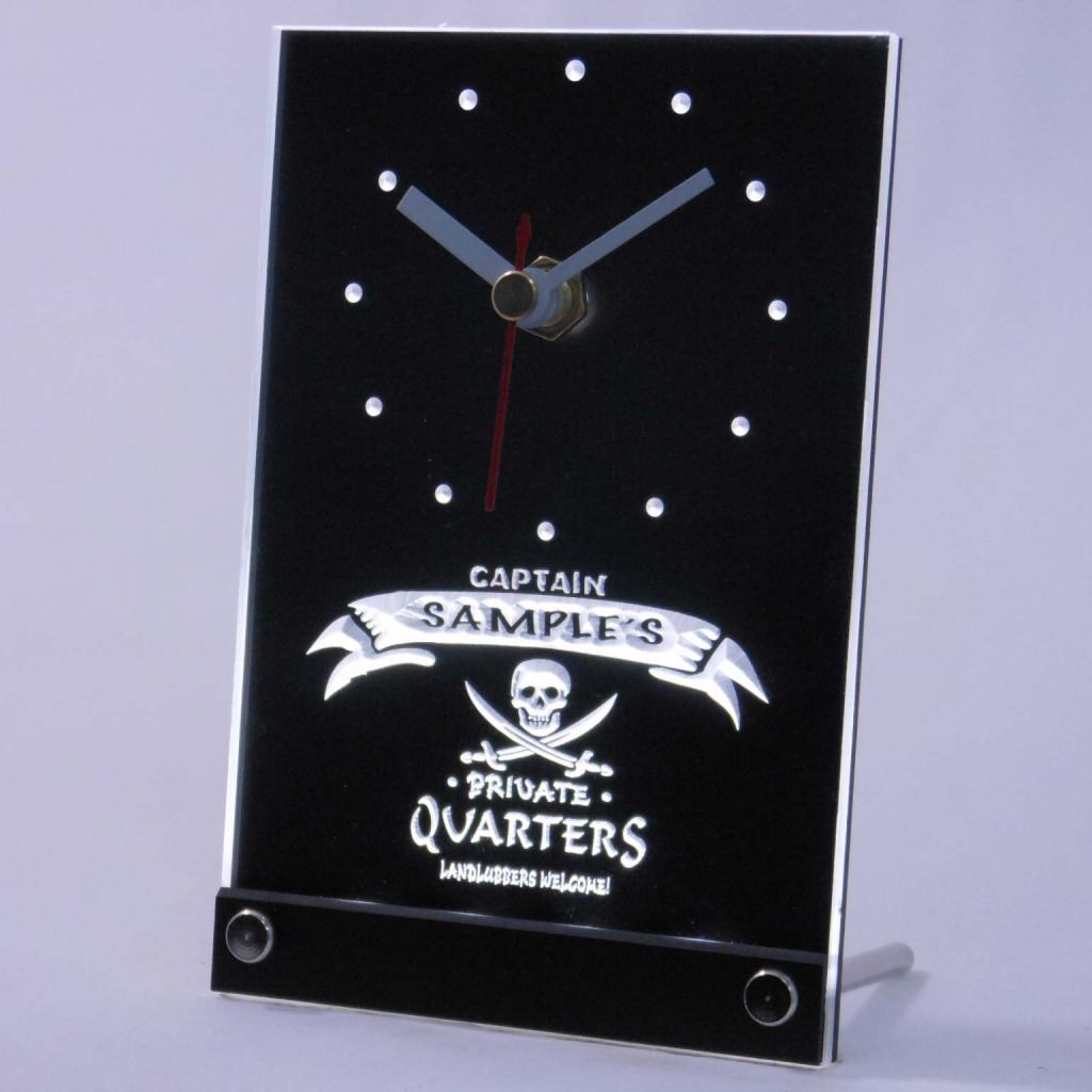 Personalized Private Quarters Pirate Bar Led Table Clock White