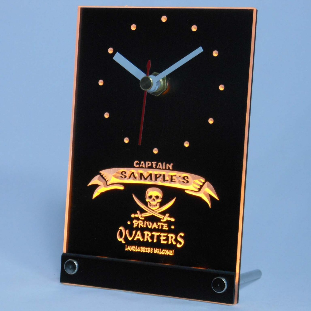 Personalized Private Quarters Pirate Bar Led Table Clock Yellow