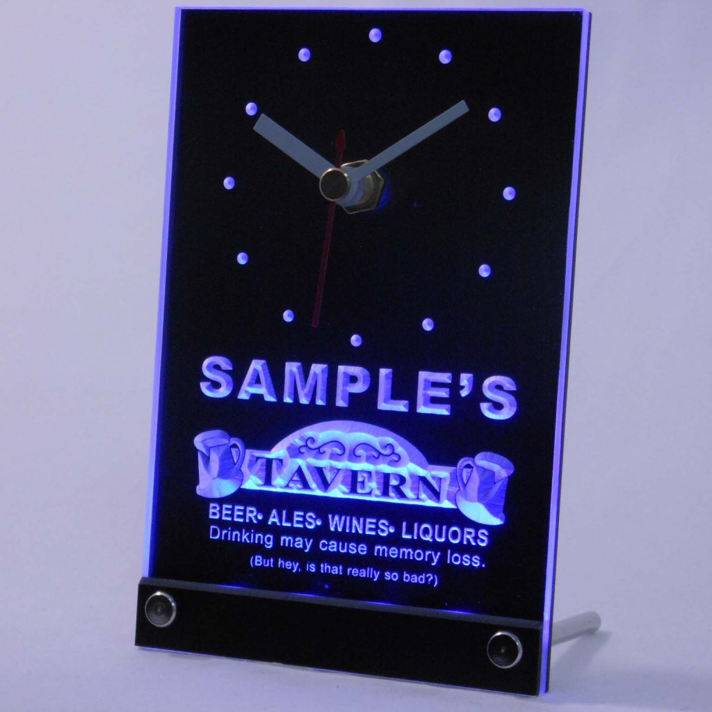 Personalized Tavern Beer Ale Bar Neon Led Table Clock Blue