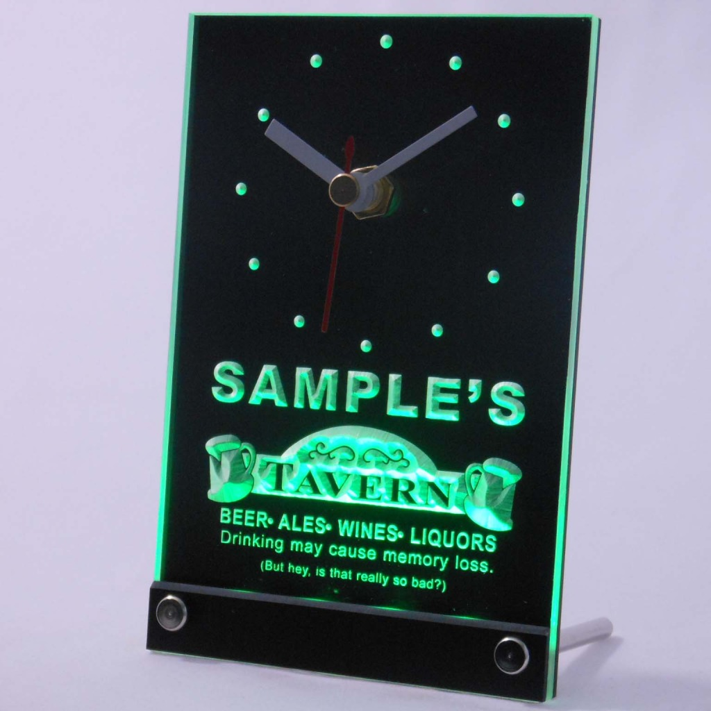 Personalized Tavern Beer Ale Bar Neon Led Table Clock Green