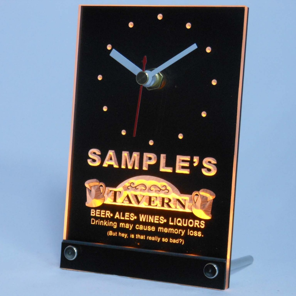 Personalized Tavern Beer Ale Bar Neon Led Table Clock Yellow