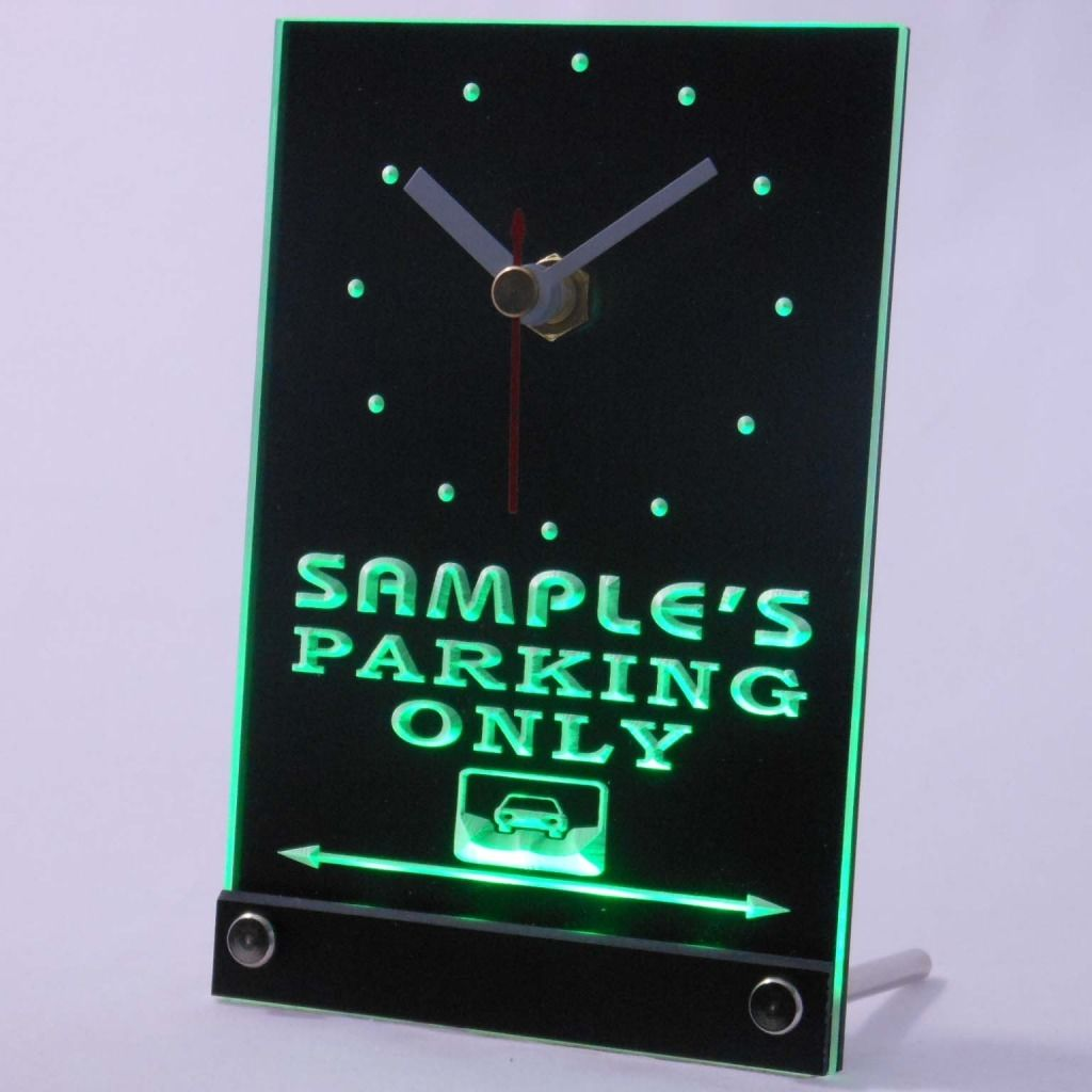Personalized Car Parking Only Bar Neon Led Table Clock Green