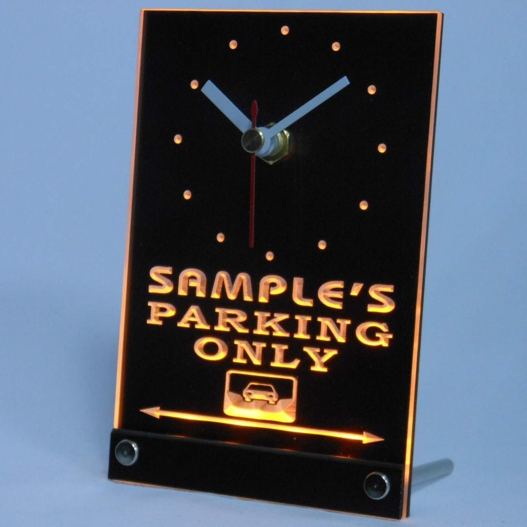 Personalized Car Parking Only Bar Neon Led Table Clock Yellow