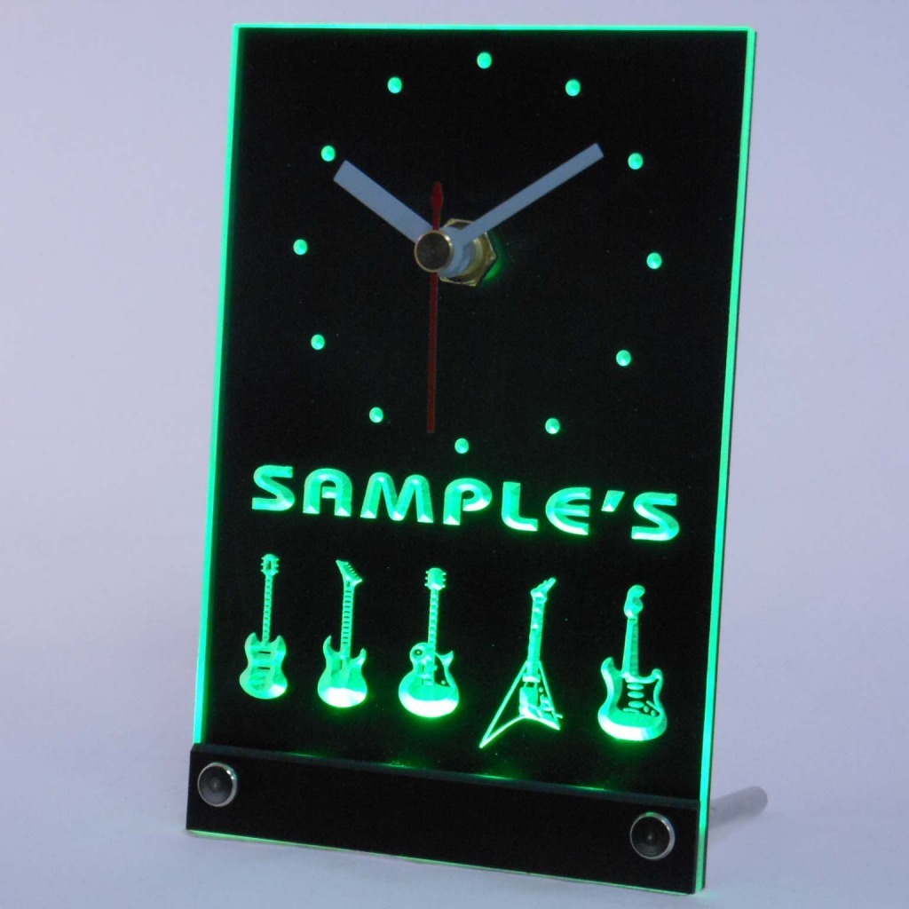 Personalized Guitar Hero Band Music Led Table Clock Green