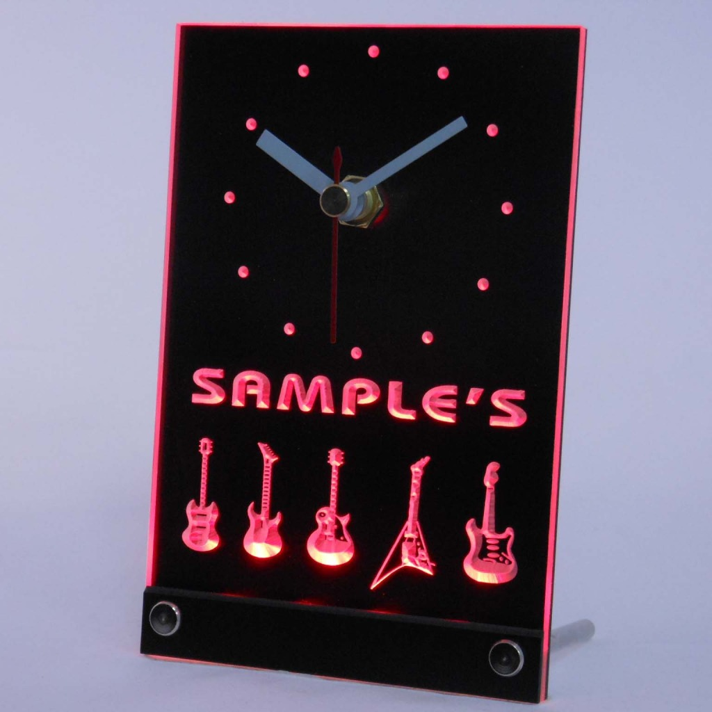 Personalized Guitar Hero Band Music Led Table Clock Red