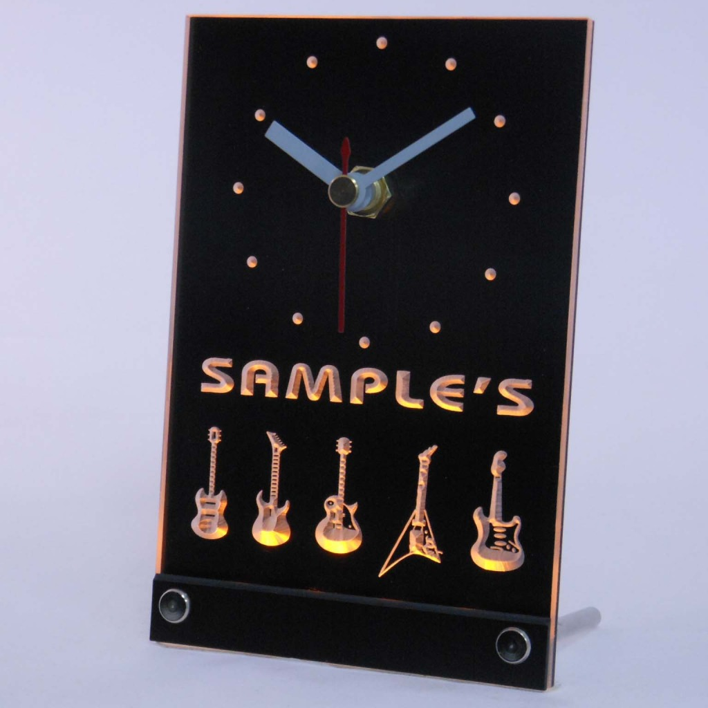 Personalized Guitar Hero Band Music Led Table Clock Yellow