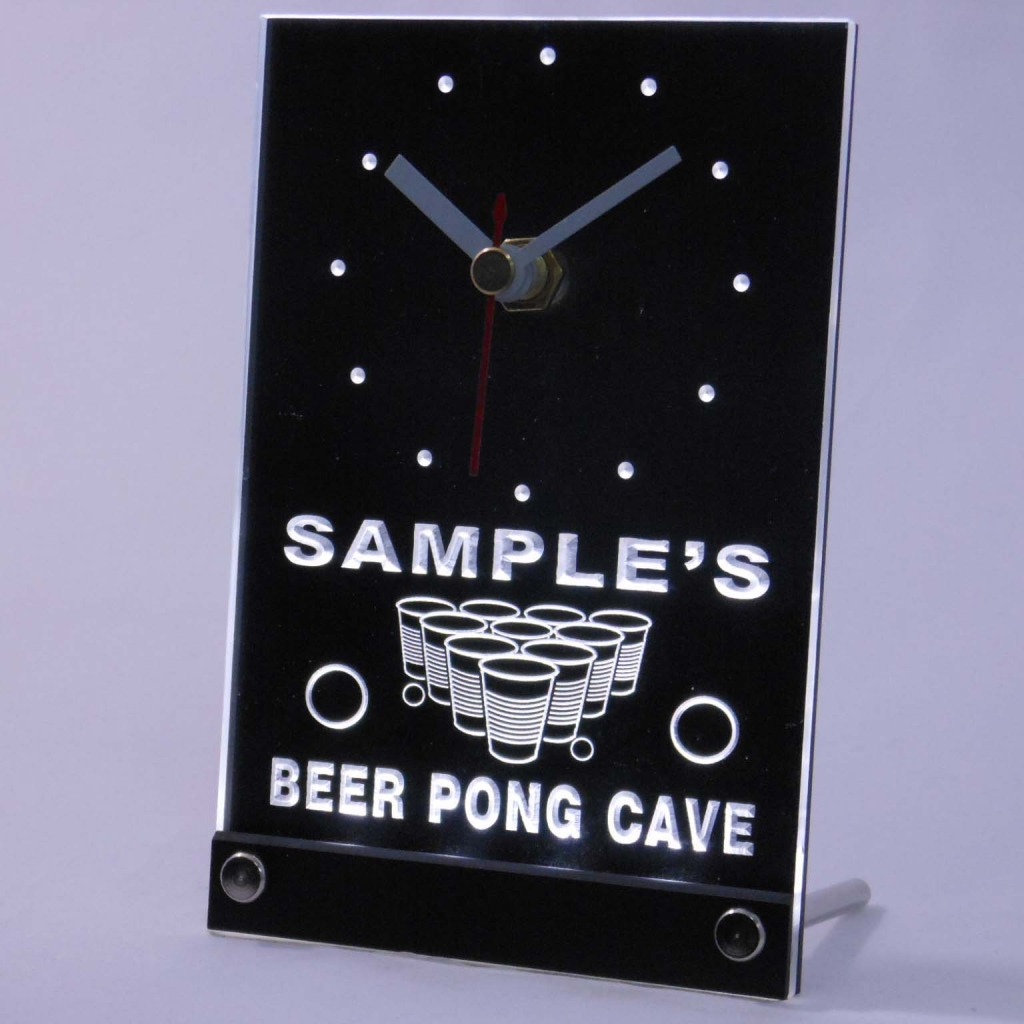 Personalized Beer Pong Cave Led Table Clock White