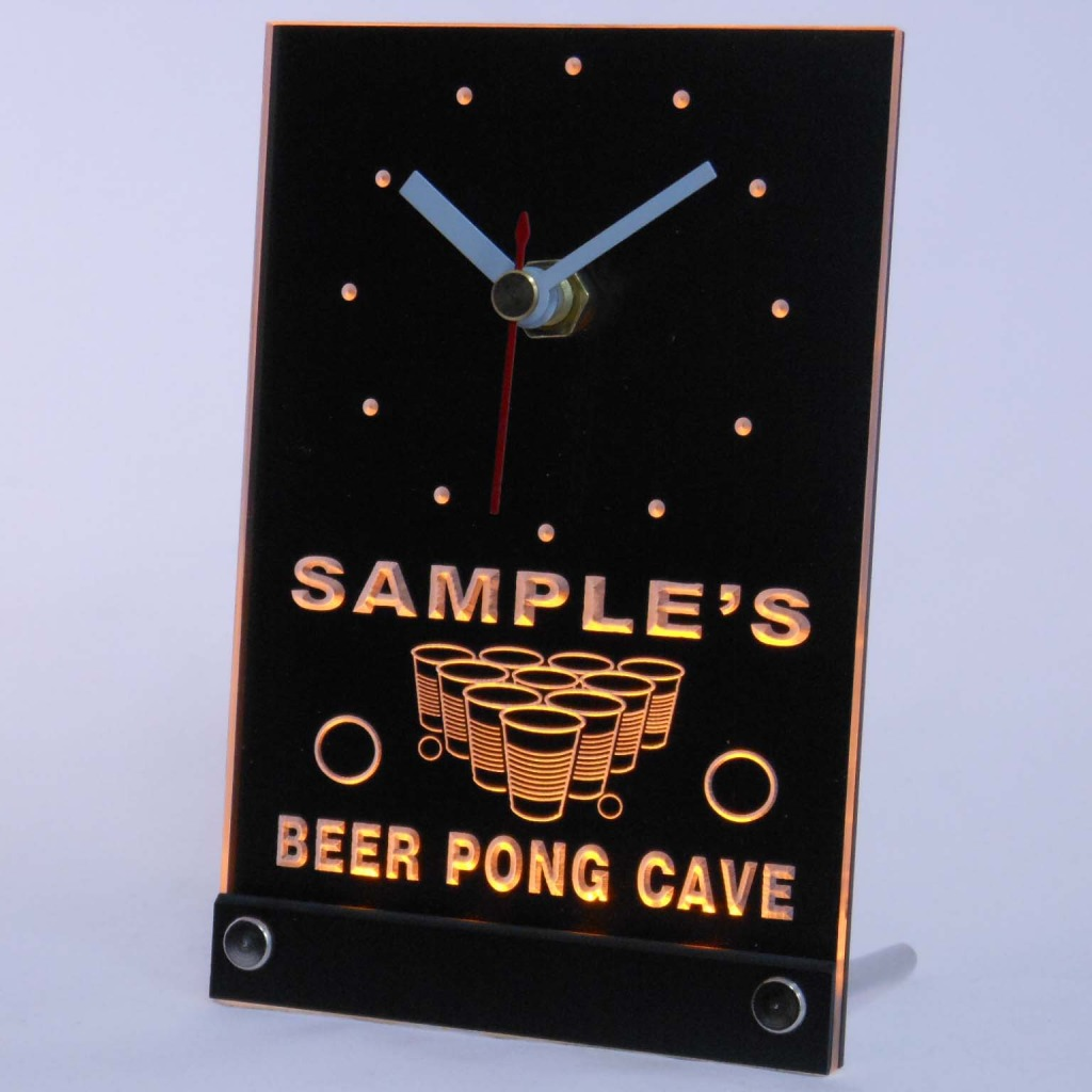 Personalized Beer Pong Cave Led Table Clock Yellow