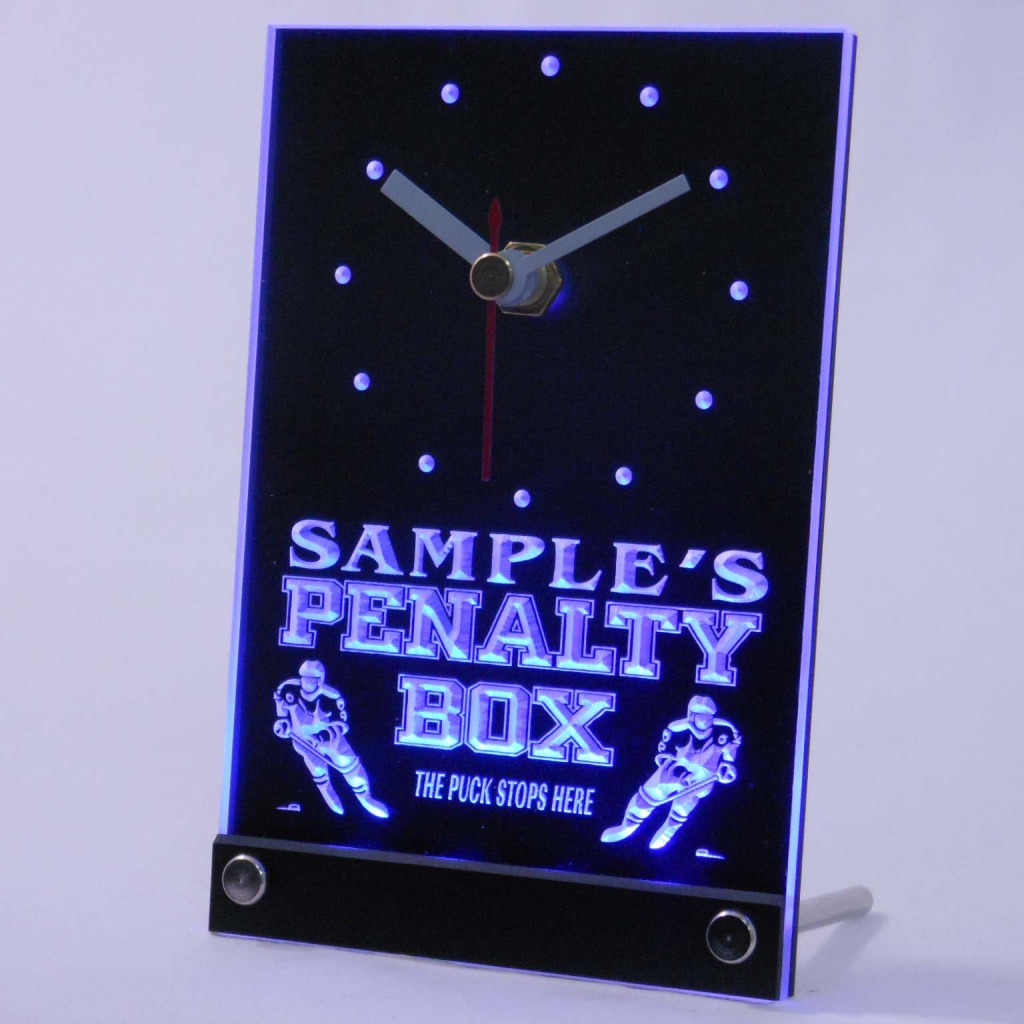 Personalized Hockey Penalty Box Bar Led Table Clock Blue