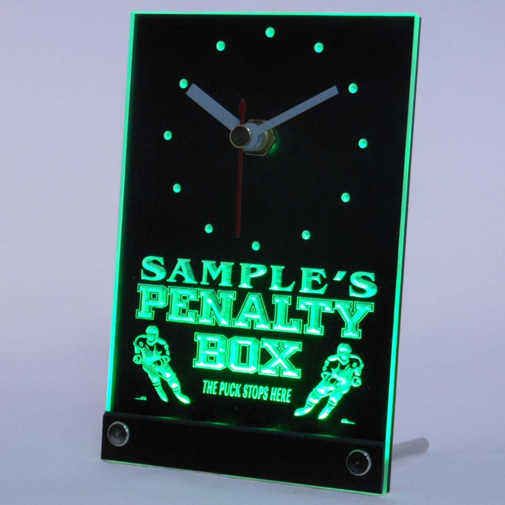 Personalized Hockey Penalty Box Bar Led Table Clock Green