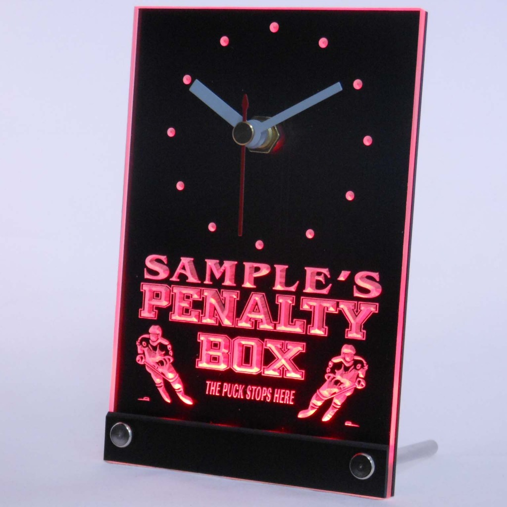 Personalized Hockey Penalty Box Bar Led Table Clock Red