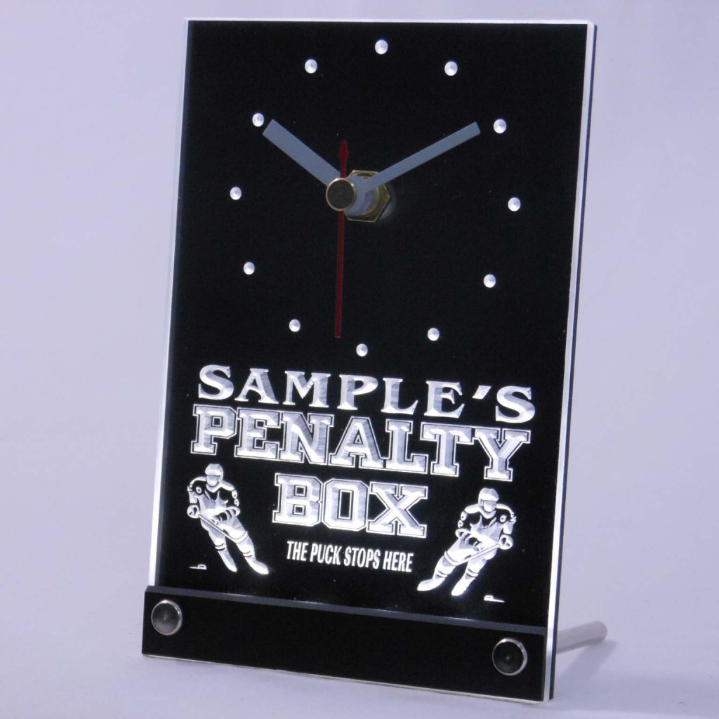 Personalized Hockey Penalty Box Bar Led Table Clock White