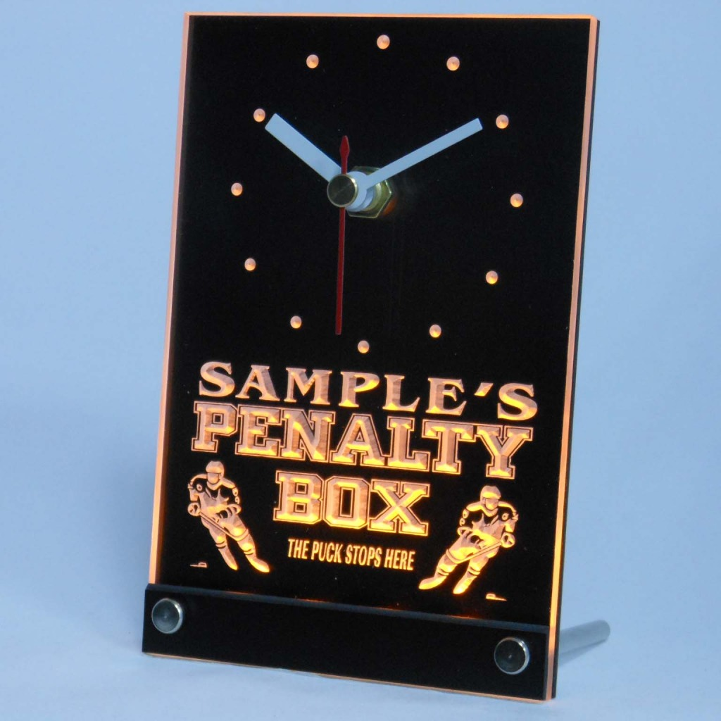 Personalized Hockey Penalty Box Bar Led Table Clock Yellow