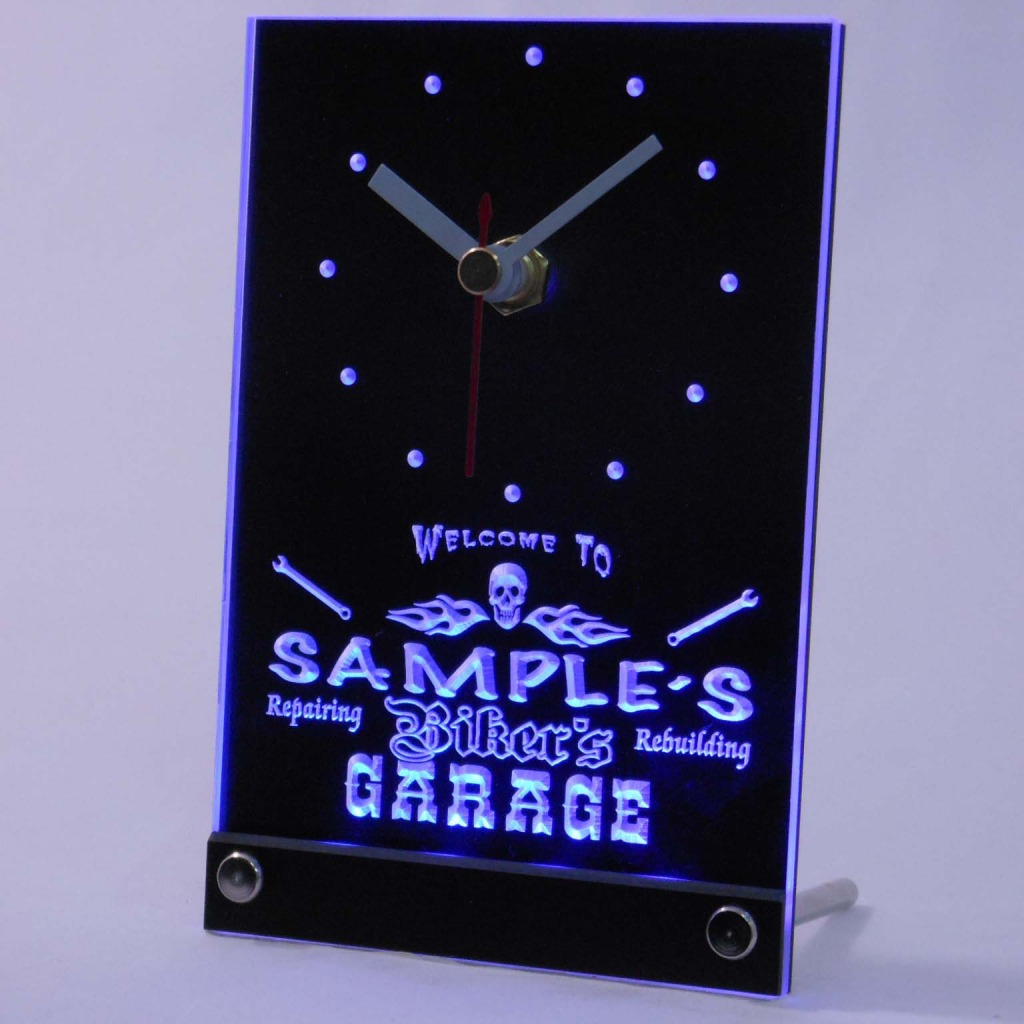 Personalized Biker's Skull Garage Bar Led Table Clock Blue